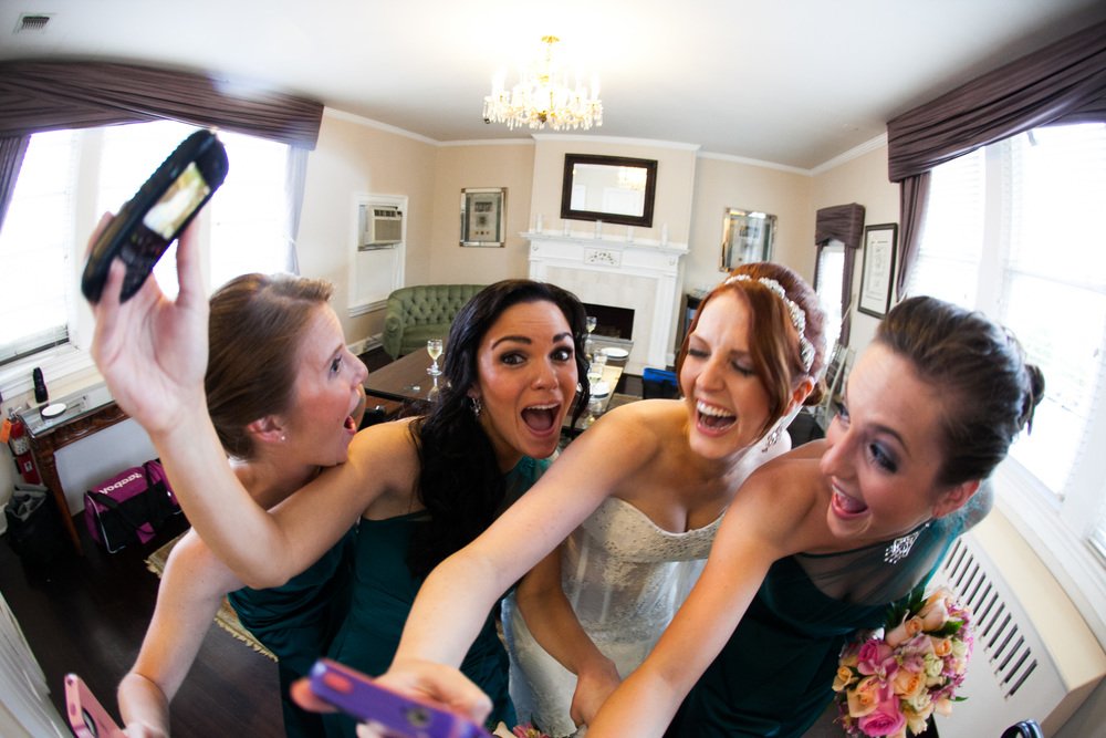 bridal party funny at greentree country club by westchester wedding photographer