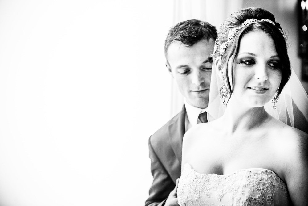 bride and groom portrait black and white at greentree country club by westchester wedding photographer
