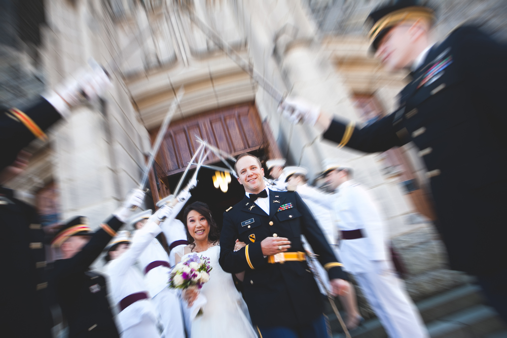 saber recessional at a wedding in west point by westchester wedding photographer sage studios