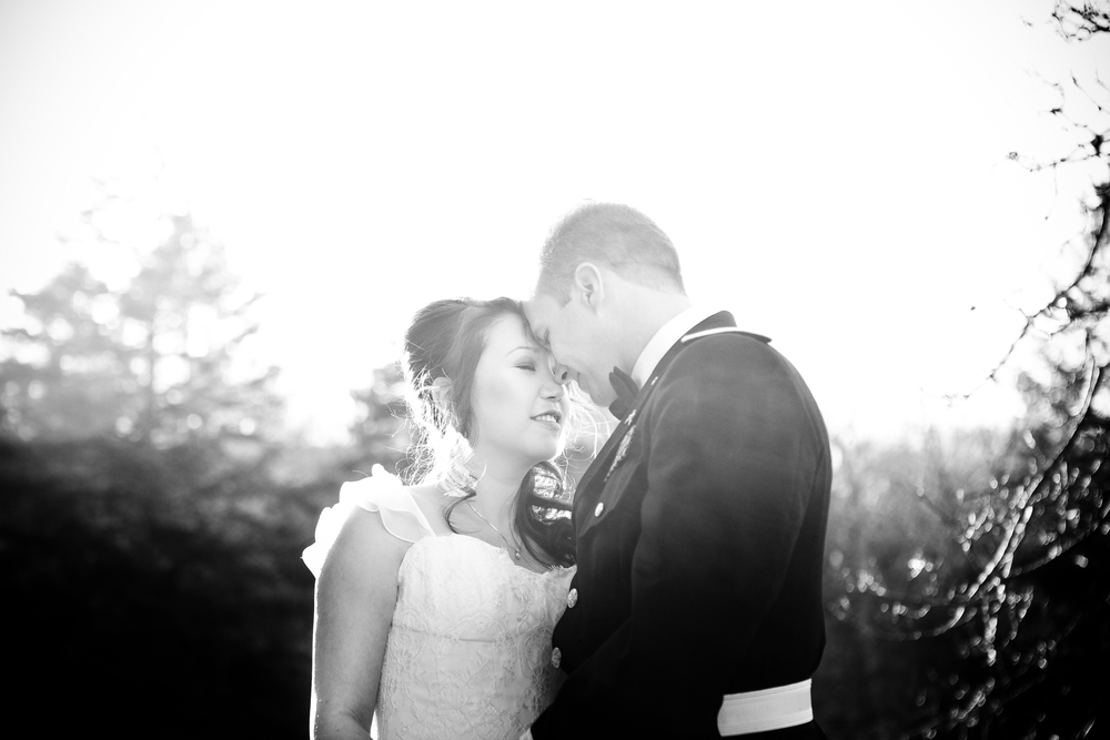 Black and white image of bride and groom by Westchester wedding photographer