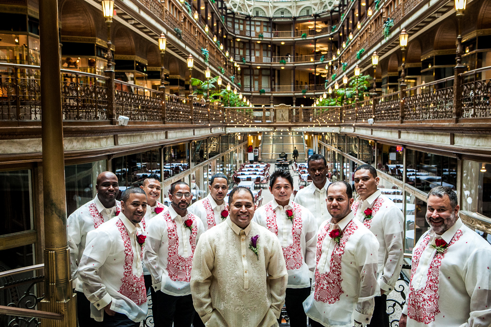 groomsmen posing at hotel