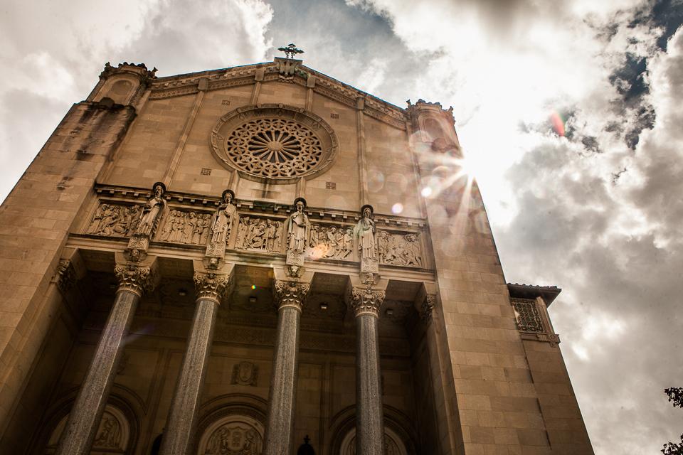 Church, lens flare