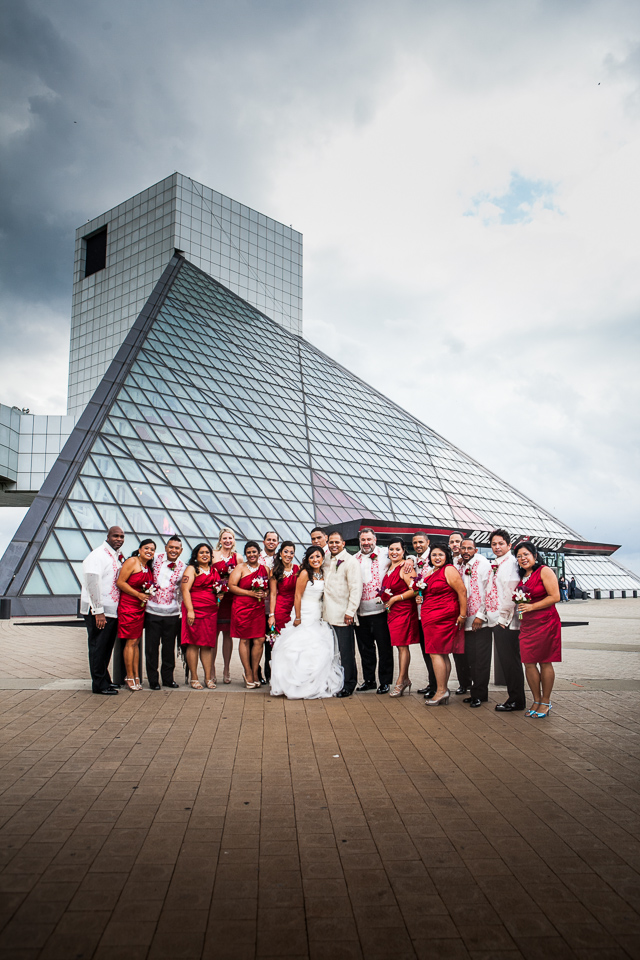 bridal party in front of rock and roll hall of fame