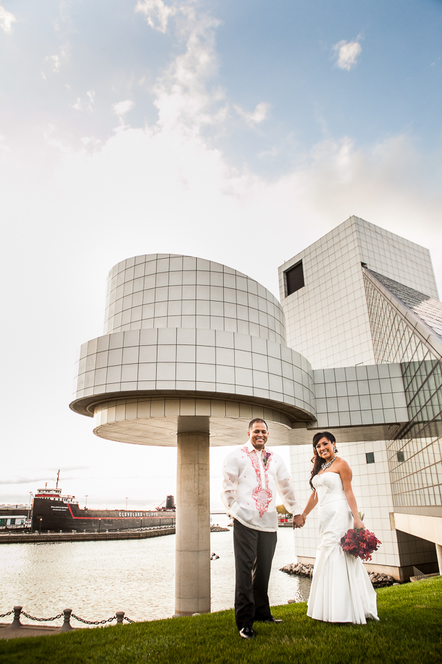 bride and groom at rock and roll hall of fame