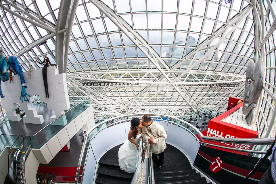 bride in groom in rock and roll hall of fame
