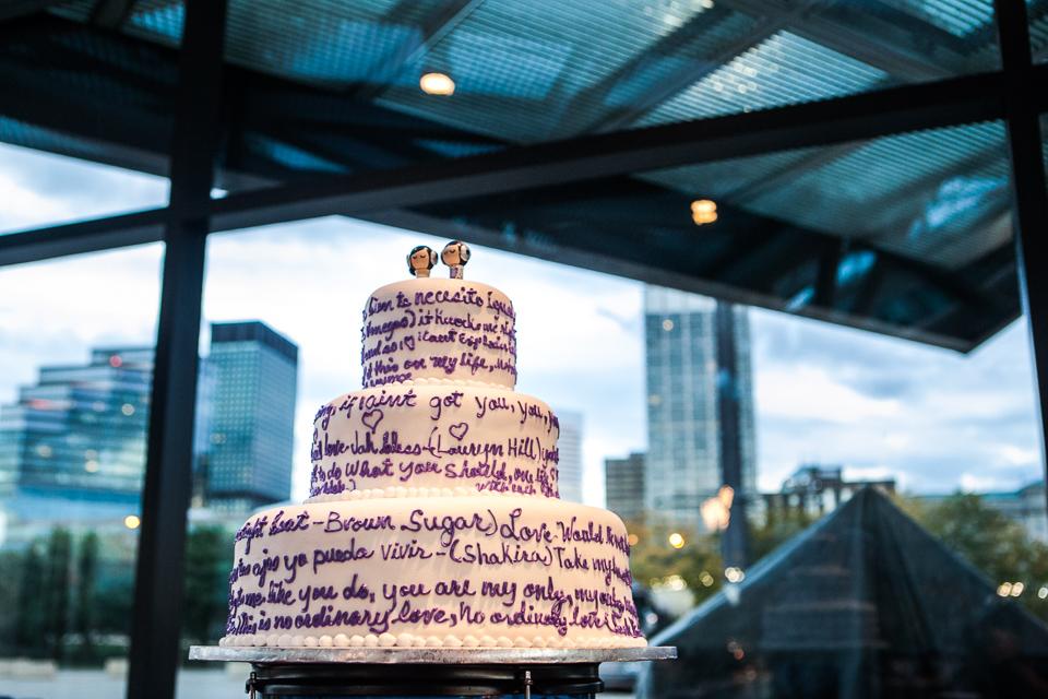 rock and roll custom wedding cake