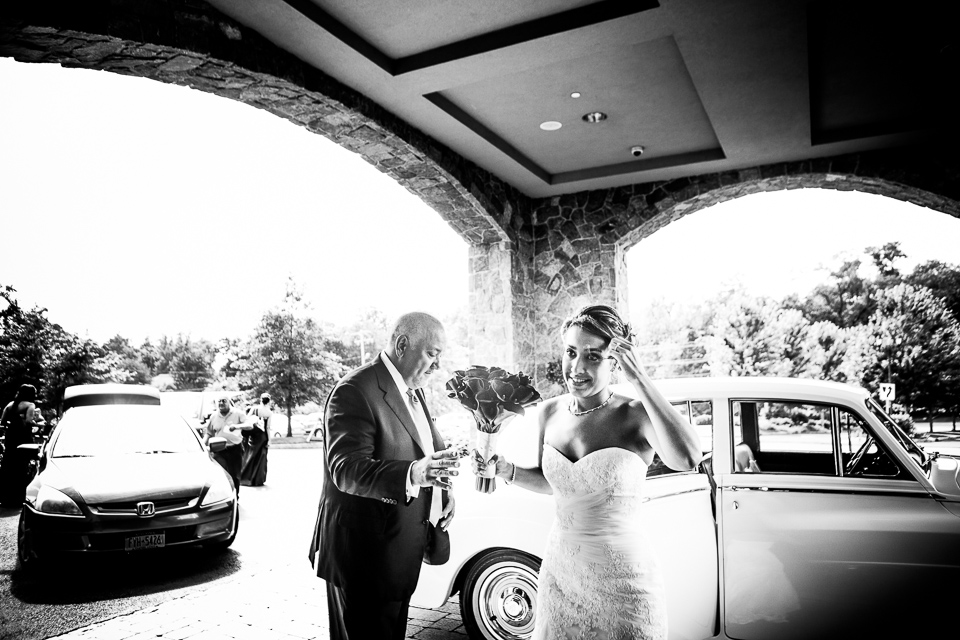 Bride and dad getting out of limo at Alpine Country Club, in New Jersey.