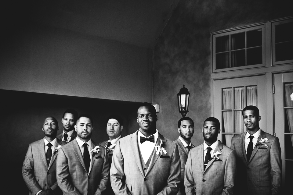 Great black and white groomsmen photo at Alpine Country Club, in New Jersey.