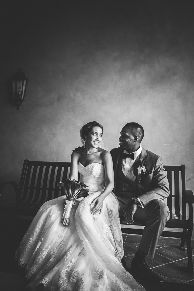 Black and white bride and groom portrait at Alpine Country Club, in New Jersey.