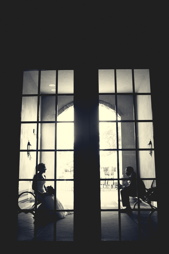 Bride and groom silhouette photo at Alpine Country Club, in New Jersey.
