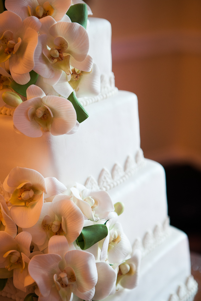 Floral wedding cake close up at Alpine Country Club, in New Jersey.