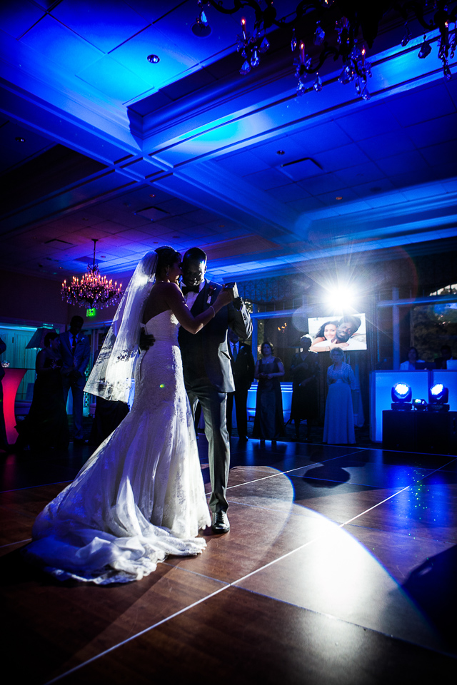 Bride and groom first dance at Alpine Country Club, in New Jersey.