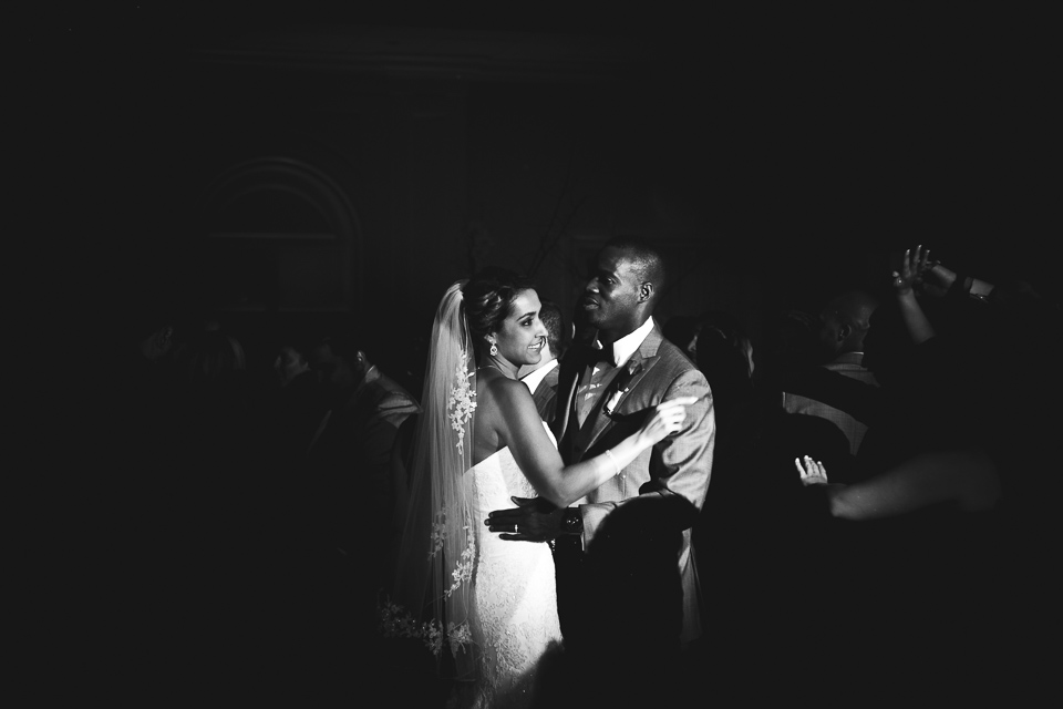 Black and white photo of bride and groom dancing at Alpine Country Club, in New Jersey.