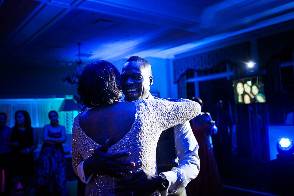 Groom dancing with his mother at Alpine Country Club, in New Jersey.