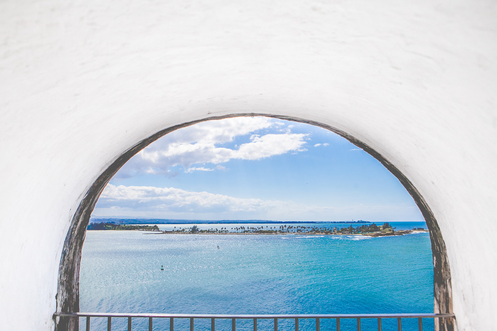 Tunnel lookout onto ocean in Puerto Rico by Westchester photographer Sage Studios Photography.