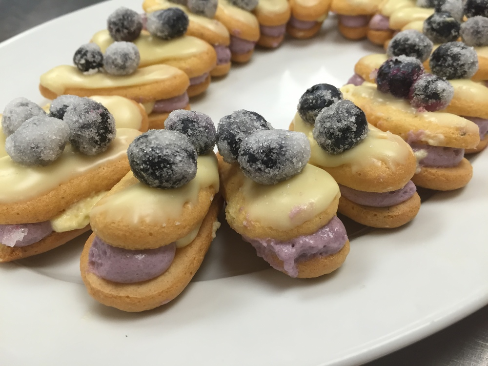 Lemon and Blueberry Mousse Charlolettes