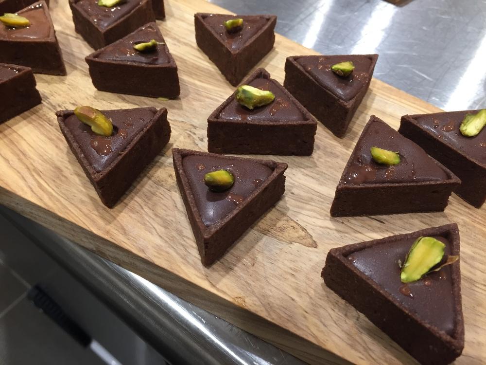 Salted Chocolate Pistachio Tarts