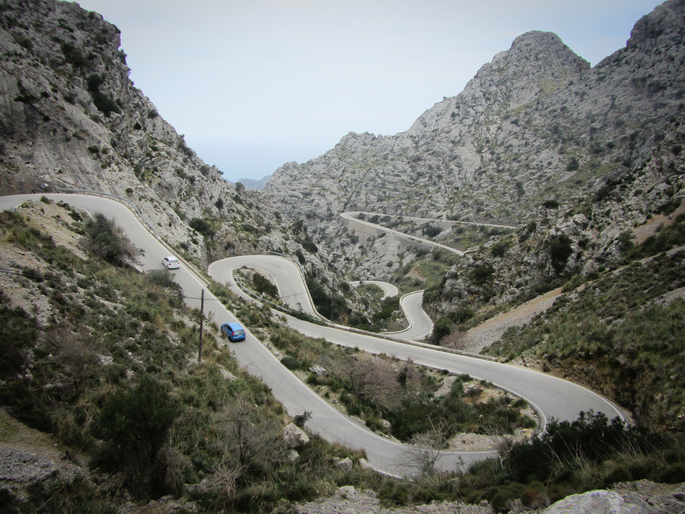 A cyclist's dream road. Almost 10 km of winding asphalt, descending from the mountains, 700m above sea level, to a sea port - Sa Calobra. And of course you'll have to climb the same road on your way back, because it's a dead end. In the summer, this road is jammed with tour buses that angle around the narrow serpentines; in February, however, the road is still almost exclusive to cyclists.