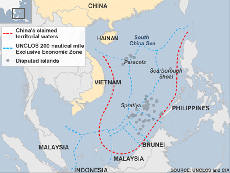 The map attached to China's letter was the controversial nine-dash-line map.