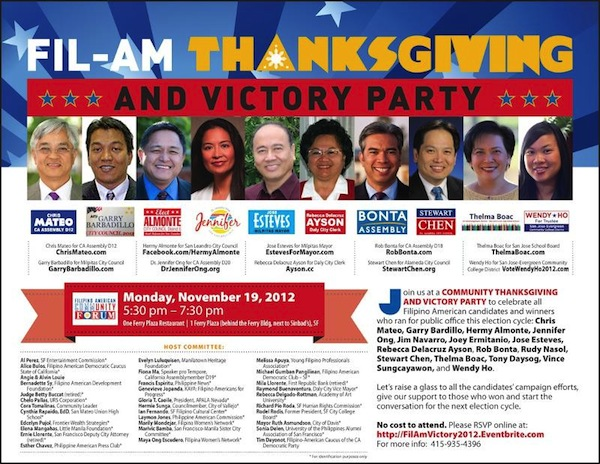 A flyer celebrating  Filipino American candidates recently elected into political office. (Photo:  Filipino American Community Forum )