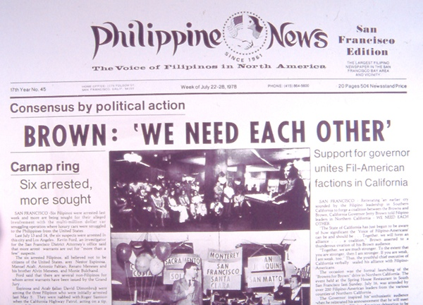 Esclamado founded Philippine News in 1961 and used it a voice against the Marcos dictatorship and to advance Filipino causes, such as immigration and veterans' rights. (Courtesy of Filipinas Magazine)