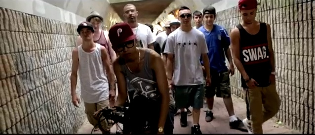 "D-Pryde and his crew from the music video for ""Mobbin'"""