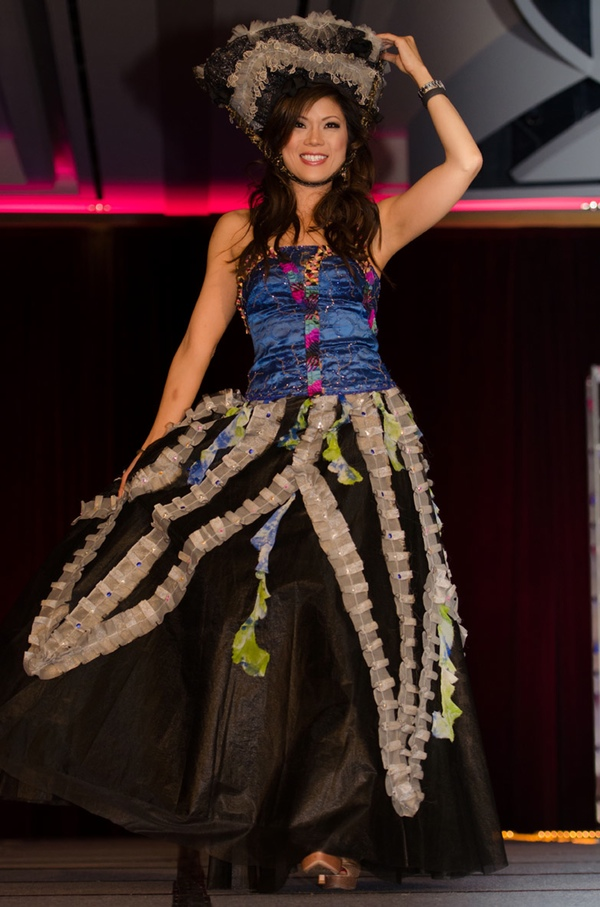 Blue bustier with fuschia, light blue and orange embellishment, and black tulle skirt with white ruffles and matching hat. A Patis Tesoro creation at the annual fashion show fundraiser of the Philippine International Aid (PIA) in San Francisco, November 2012.
