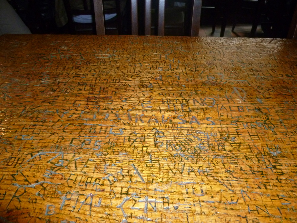 Students carved their names on the wooden tables at the Heidelberg restaurant, except for Rizal, although he often ate there.
