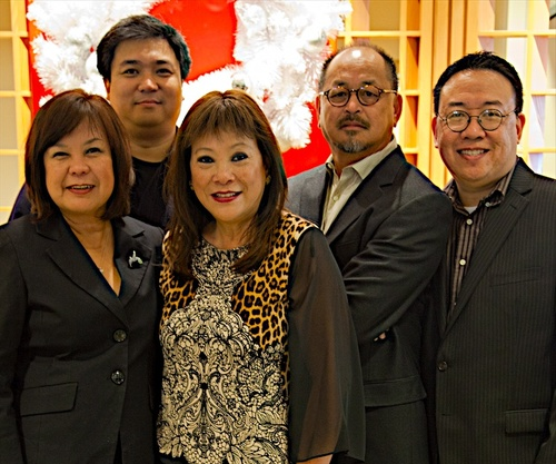 THE FOUNDERS AT A RECENT COMMUNITY HOLIDAY EVENT IN SAN FRANCISCO. FROM LEFT: GEMMA NEMENZO, F.M. RICARTE, MONA LISA YUCHENGCO, RENE CIRIA-CRUZ AND RAYMOND VIRATA.