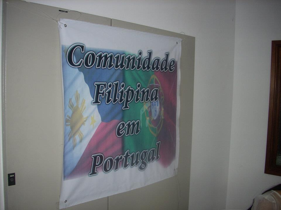 "The banner reads ""Filipino community in Portugal"". This was displayed during the celebration of the Independence day of the Philippines in Lisbon this year. (Photo by Tiago Villanueva)"