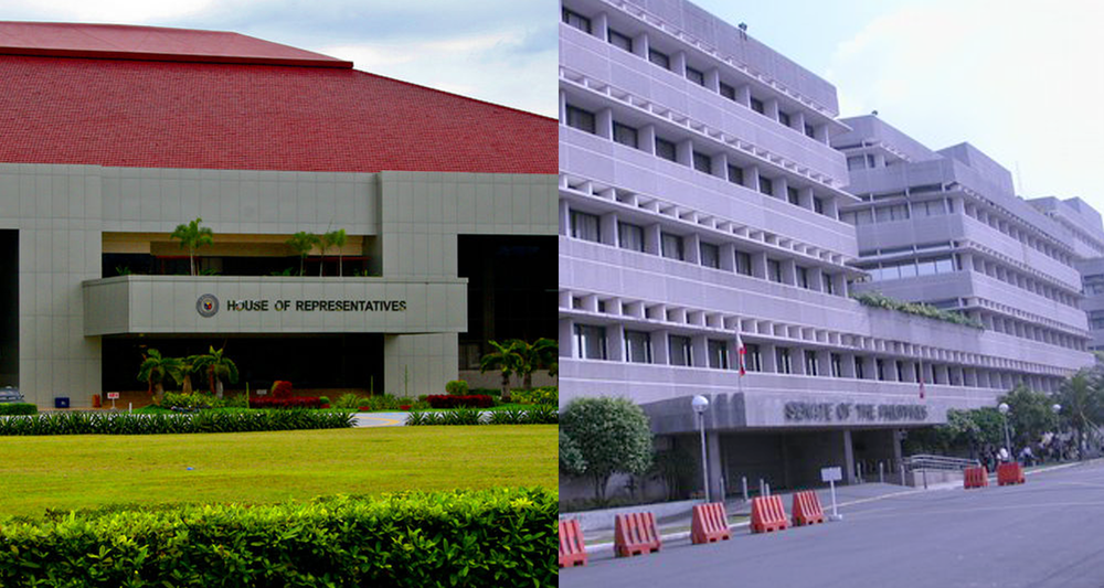Both Houses of Philippine Congress, the House of Representatives (left) and the Senate (Source: Wikimedia Commons)