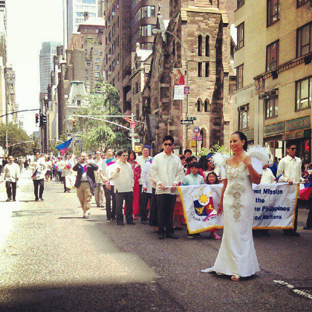 "Representing the Department of Tourism's new campaign, ""It's More Fun in the Philippines!"" during the 2012 Philippine Independence Day Parade in New York.  (Photo by Ines del Castillo)"