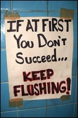 "Sign displays: ""If at first you don't succeed...keep flushing!"""