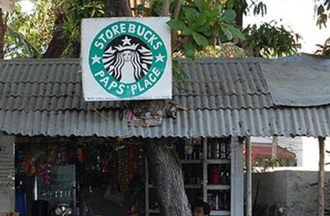 """Sign displays: """"Storebucks Paps Place"""""""