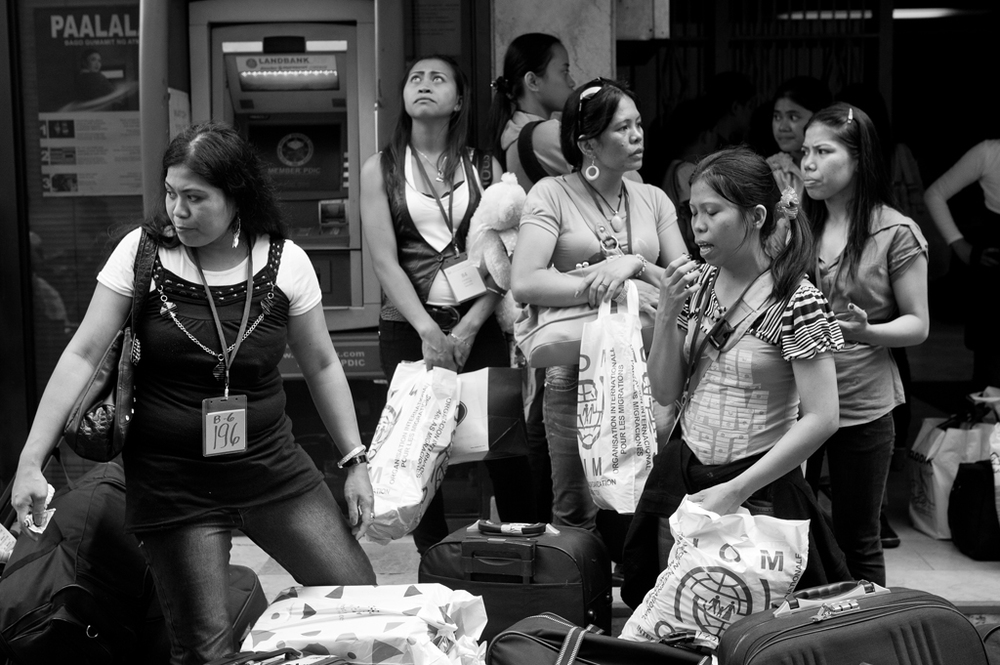 Repatriated OFWs from Syria  (Photo by Rick    Rocamora )