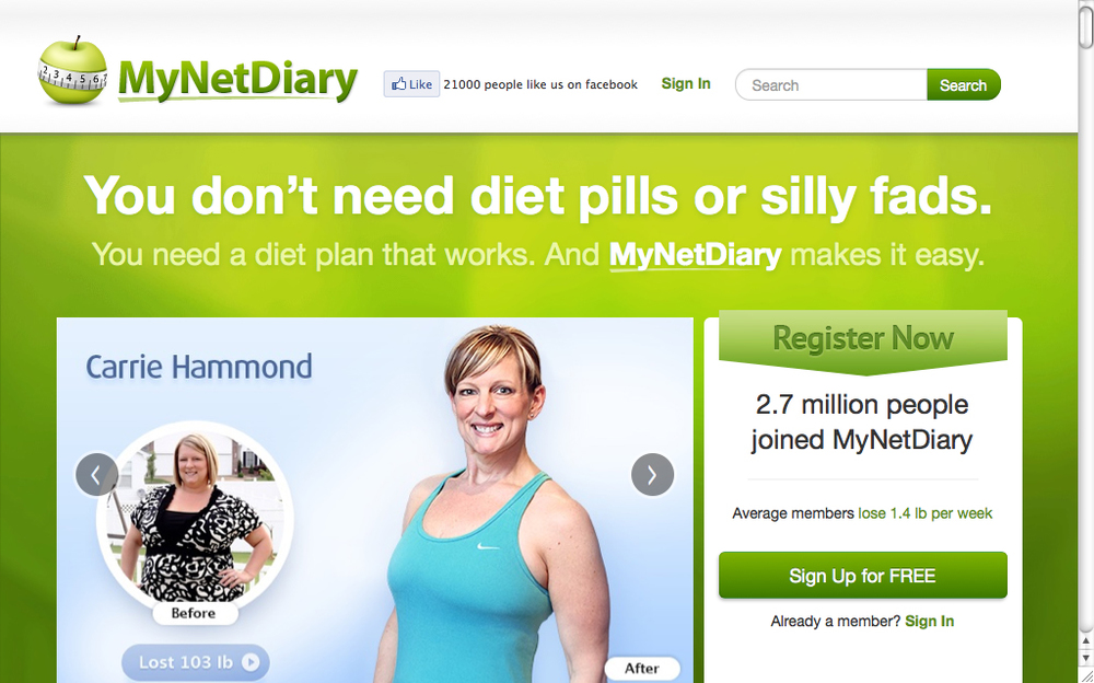 There are a lot of calorie counting apps you can use, like My Net Diary.  (Photo:  www.mynetdiary.com )