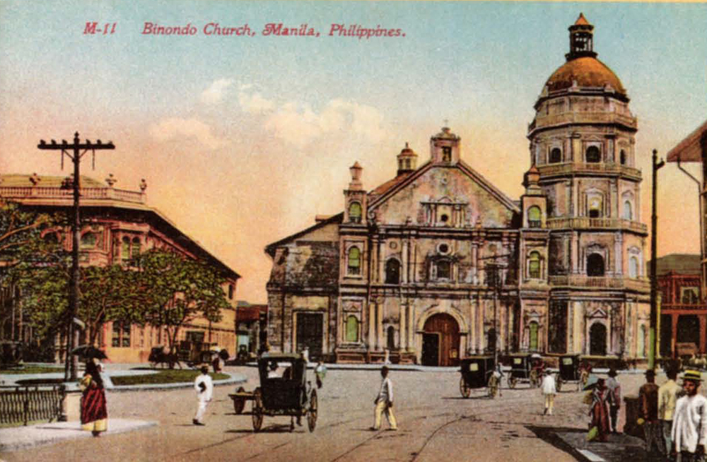 Binondo church in 1909, with the Insular Cigar Factory to its left