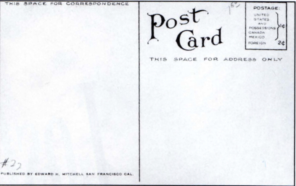 Back side of postcards with art noveau fonts