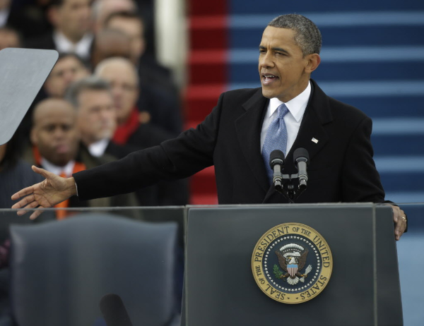 President Barack Obama giving his inaugural speech on January 21, 2013.  (Source: ABC News)