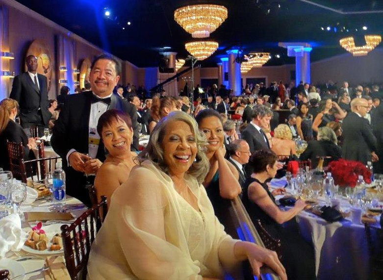 Ruben Nepales, Patti Austin, Janet Nepales and Bessie Badilla during a commercial break at the 70th Golden Globes - International Ballroom of the Beverly Hilton.