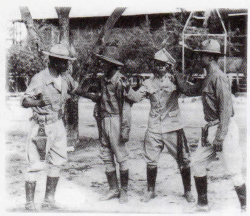 Sharpshooters: Members of the 24th Colored Regiment drilling with handguns; defectors trained Filipino rebels in marksmanship. (Source: the Anthony Powell Collection)