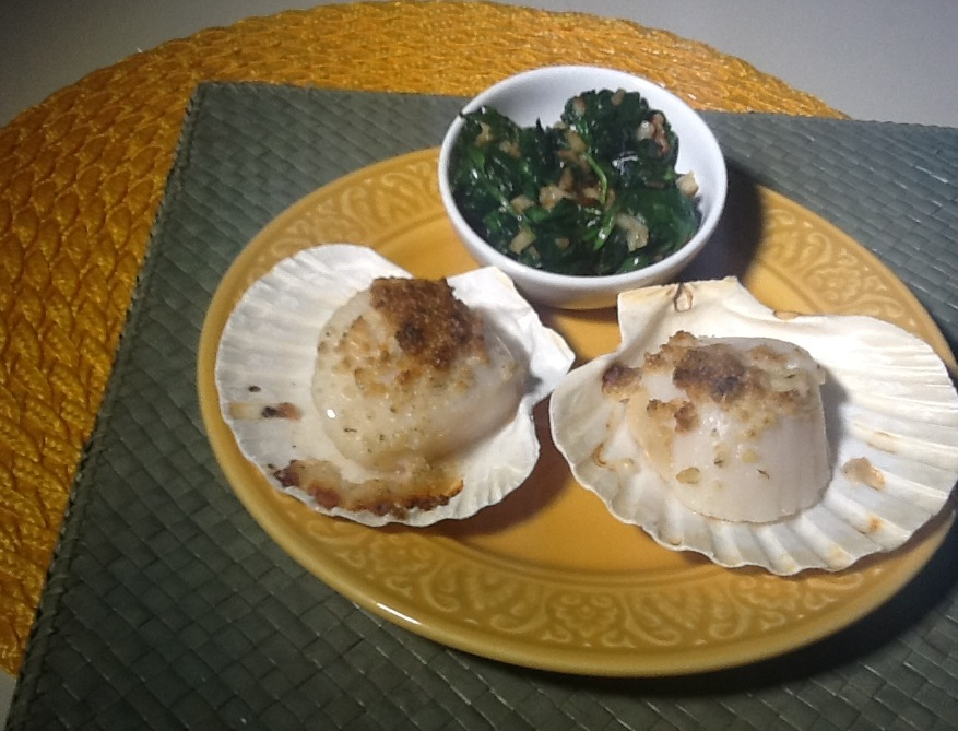 Broiled Scallops with Sauteéd Garlic Spinach  (Photo by Rene Astudillo)