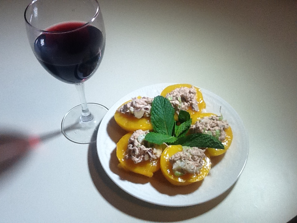 Tuna salad on peach halves  (Photo by Rene Astudillo)