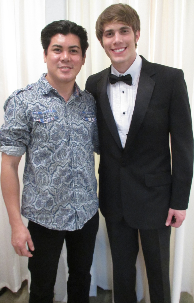Oliver Tolentino (left) with Glee's Blake Jenner at the fitting session before the 2013 Screen Actors Guild Awards  (Photo by A. Caruthers)