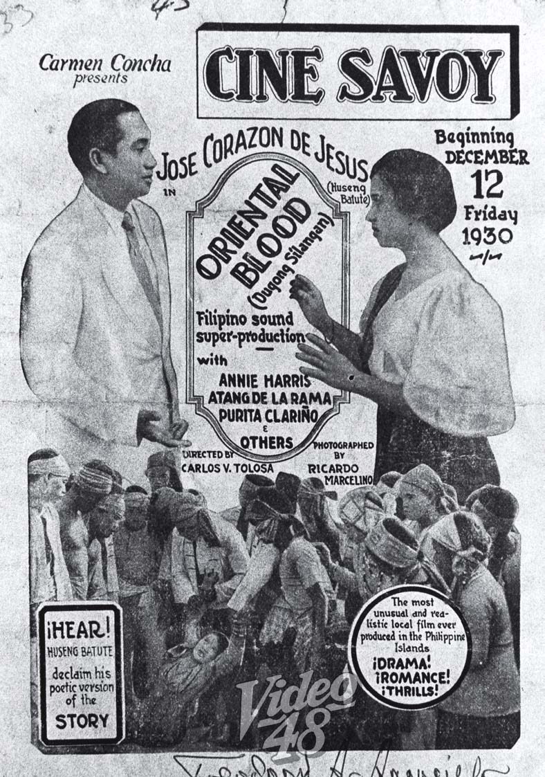 In 1930, a few years before his death, Jose Corazon de Jesus starred in this movie with the zarzuela queen, Atang de la Rama. (Source: URIAN Anthology Book 1990-1999)