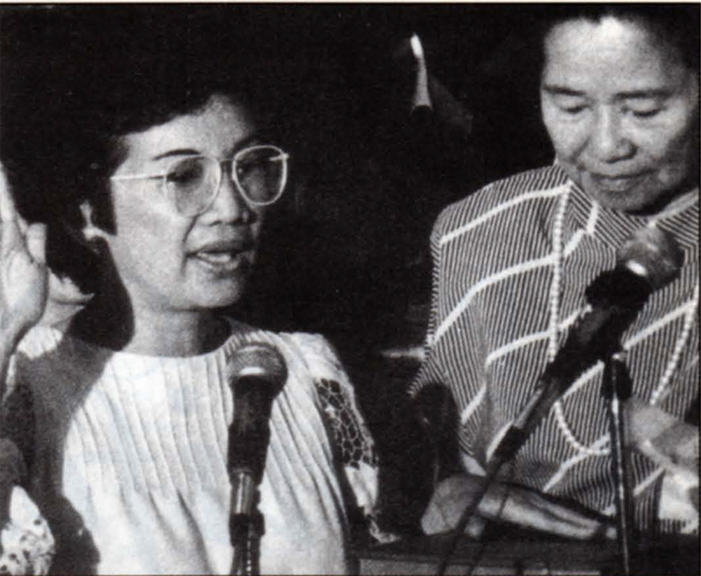 On February 25 at 9:55 am, Corazon Aquino was sworn in as the new President of the Republic. The ceremony was held at Club Filipino in Greenhills. The mother of her late husband, Doña Aurora Aquino, held the Bible for her swearing in.  (Photo by Pete Reyes)