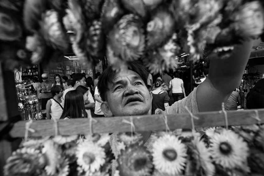 Dried everlasting flower vendor who only sells during Fridays.  (Photo by Rick Rocamora)