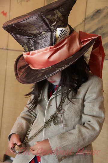 Author's son as the Mad Hatter (Alice in Wonderland). She found all the trinkets around his neck from a craft shop.