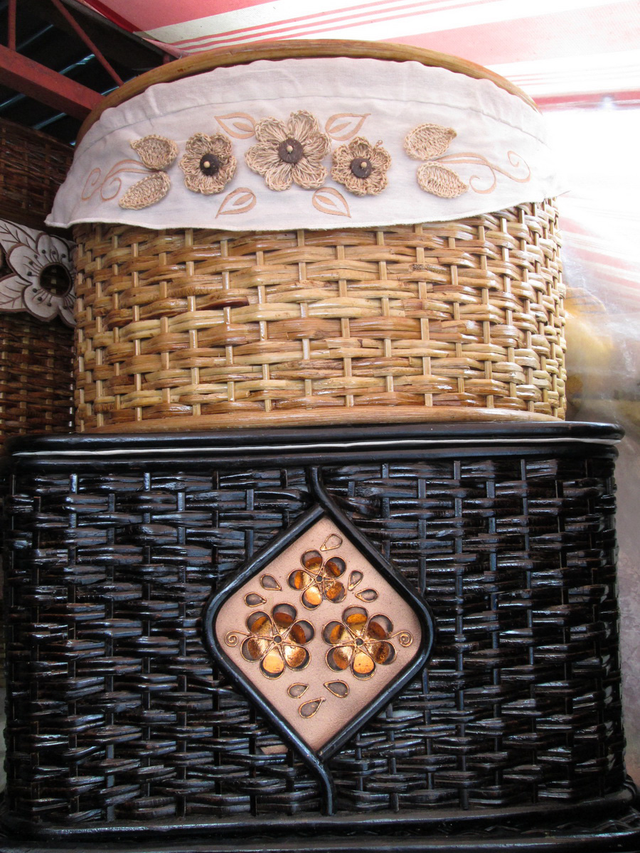 A native hamper in dark brown with intricate handmade details (below) and  (top) with embroidered and crocheted bib-like accent (Photo by Dedette Sison-Santiago)