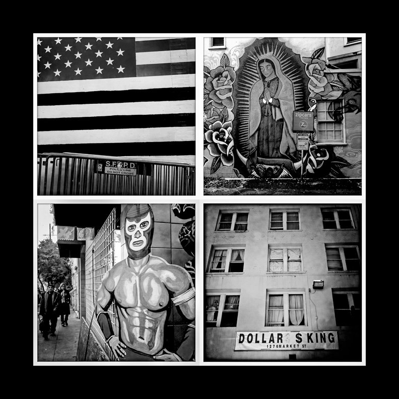 "Clockwise from top left: ""Selective Crossing Allowed,"" ""Extra Prayers Included,"" ""America's World View"" ""Security Detail – 24th Street"" (Photos by Rick Rocamora)"